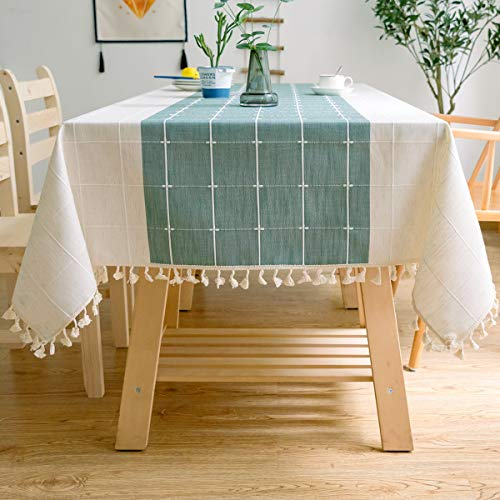 J-MOOSE - Tovaglia in cotone con ricamo a quadretti, per cucina, sala da pranzo, decorazione da tavolo (140 x 260 cm, verde/bianco)