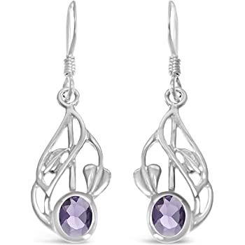 Dew Heritage Art Nouveau Sterling Silver Drop Earrings with Real Amethyst Stones