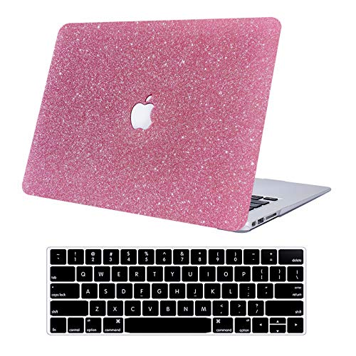 KEROM MacBook Pro 13 inch Case 2020 2019 2018 2017 2016 Release A2338 M1 A2289 A2251 A2159 A1989 A1706 A1708, Glitter PU Leather Hard Shell Case and Keyboard Cover for MacBook Pro 13, Pink