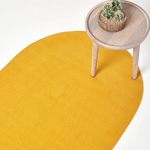 Homescapes - Alfombra ovalada artesanal tejida en plano de algodón, color amarillo mostaza para la habitación o el salón, 90 x 150 cm