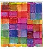 gwegvhvg Abstrakter Duschvorhang Regenbogen farbiges geometrisches Quadrat geformt mit &eutlichem Trübungs-Effekt-Aquarell-Entwurfs-Gewebe-Badezimmer-Dekor-Satz mit den Mehrfarbig