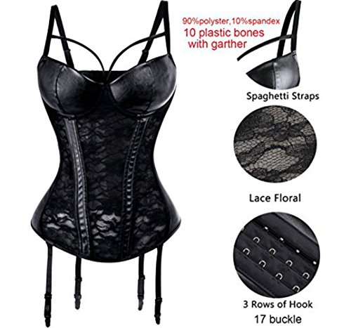 Kelvry Women's Basque Steampunk Gothic Boned Waist Cincher Bustier Corset Clubwear with Suspenders Size S-2XL Black steampunk buy now online