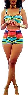2 Piece Outfits for Women Summer Rainbow Stripes Short Jumpsuits Beach Wear Swimsuit