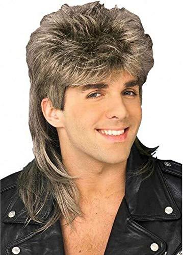 Diy-Wig Stylish Mens Retro 70s 80s Disco Mullet Wig Fancy Party Accessory Cosplay Wig(Blonde)