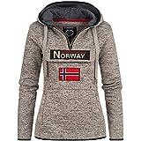 Geographical Norway UPCLASSICA Lady - Felpa Donna Cappuccio - Felpa da Donna Casual A Manica Lunga Calda Casual - Felpa con Cappuccio Giacca Top Sport (Misto Grigio M)