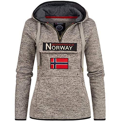 Geographical Norway UPCLASSICA Lady - Sudadera Capucha Bolsillos De Forro Polar Kangaroo - Sudadera De Manga Larga Y Cálida - Sudadera con Capucha Tops Sport (Gris Mixto M)