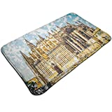 Non Slip Soft Bathroom Mat,Big Gothic Building Sea Shore Cathedral of Palma De Mallorca View from Road,Decorative Outdoor Absorbent Rug