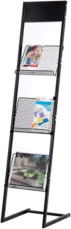 Simple Magazine Rack, Iron Newspaper Rack, Creative Material Rack, Floor-Standing Brochure Display Stand, Single-Page Display Rack == (Size   28 × 30 × 126cm)
