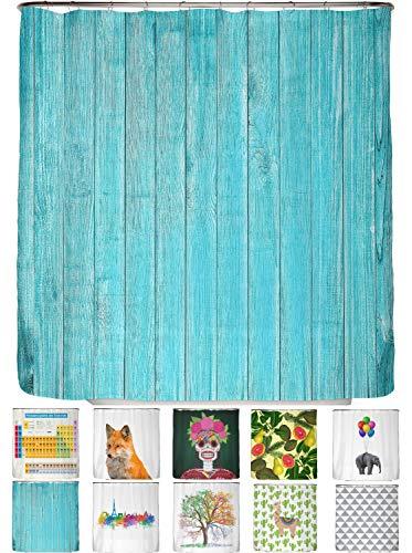 arteneur® - Holz Türkis - Anti-Schimmel Duschvorhang 180x200 - Beschwerter Saum, Blickdicht, Wasserdicht, Waschbar, 12 Ringe und E-Book mit Reinigungs-Tipps