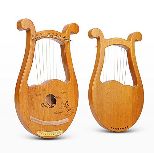 HYTGF Arpa de Lira de 10 Cuerdas, Arpa de lejía de Caoba de Madera Maciza para Principiantes Amantes de la Música,001,10 String