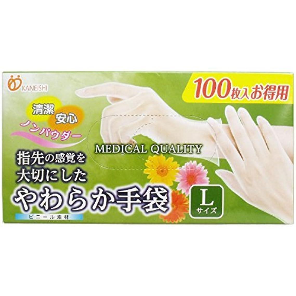 実現可能性自宅で脅迫やわらか手袋 ビニール素材 パウダーフリー Lサイズ 100枚入「5点セット」