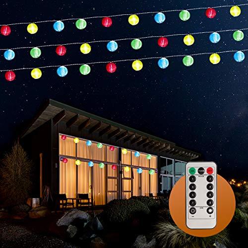 Luces Exterior, 30 LED Guirnaldas, 7,8 Metros Luces Farolillos con Mando a Distancia, Farolillo Impermeable, Farolillos Decorativos Exteriores, Utilizados para Terrazas, Jardines, Patios, Fiestas