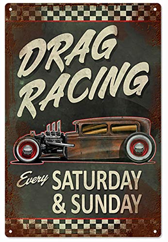 Hot Rod Drag Racing Car Sign.jpgTin Signs Vintage Decor for Bars,Diner,Cafes Pubs Garage Home Wall Art Poster Metal Plaques 11.8x7.9 Inch