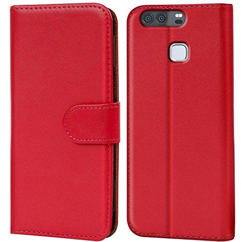 Verco Funda para Huawei P9, Telefono Movil Case Compatible con Huawei P9 Libro Protectora Carcasa, Rojo