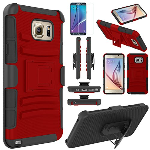 Note 5 Case, EC Hard Shock-Resistant Heavy Duty Armor Holster Protective Case Cover with Belt Swivel Clip + Kickstand for Samsung Galaxy Note 5 (Red/Black)