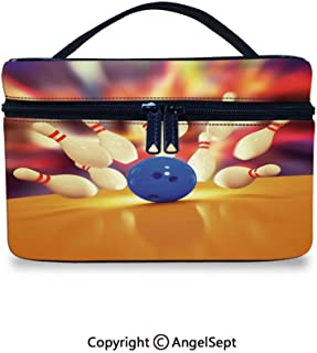 Hot Sale Makeup Bag With Compartments,Spread Skittles Blue Ball on Wooden Floor Moment of Crash Print Decorative Multicolor,10x7x6inches,Waterproof Cosmetic Travel Bag