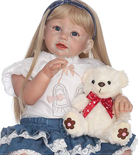 Lifelike Reborn Toddlers Girls Look Real Reborn Baby Dolls Soft Vinyl Toddler Dolls Silicone Toddler Dolls Reborn for Girls 28 Inch with Blonde Hair with Clothes Cheap