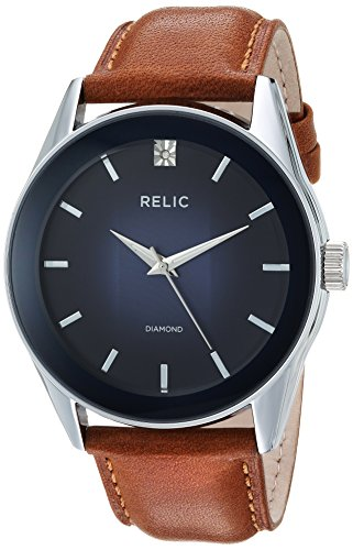 Relic by Fossil Men's Rylan Stainless Steel quartz Watch with Leather Strap, brown, 24 (Model: ZR77294)