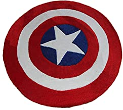 The Stylish Captain America Five-Pointed Star Bedroom Living Room Cushion Acrylic Cotton Round Rug is Thick and Environmen...