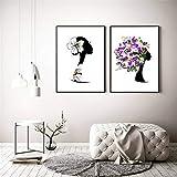 DNJKSA Flor de Margarita Pinturas de Lienzo Femeninas Carteles e Impresiones de Arte de la Pared Cuadros de Lienzo de Arte para la decoración de la Sala de Estar 50x70cmx2pcs Sin Marco