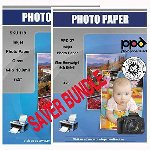 """PPD Inkjet Heavyweight Photo Paper Glossy Bundle Pack 4x6"""" & 5x7"""" 64lb. 240gsm 10.9mil 50 Sheets + 50 sheets"""