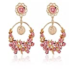 XingBeiBei Fashion Female Flowers Large Ring Gem Alloy Earrings