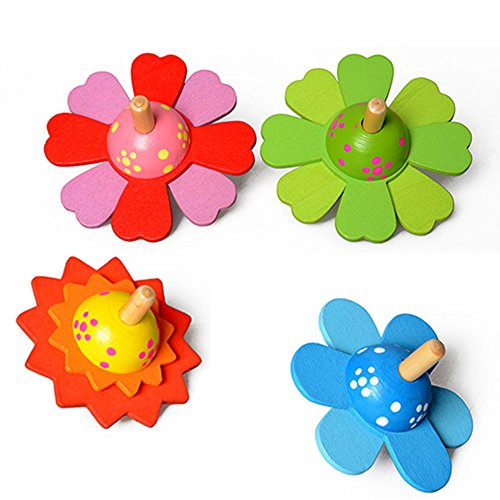 Affordable HotMall-US Gyro, Lovely Wooden Flower Rotate Develop Intelligence Peg-Top Kids Spinning T...