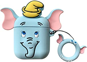 kpurple Airpods Case, Elephant Dumbo Case with Finger Holder for Apple Airpods with Charging Case Protective Protector Walt Disneyland Lovely Kawaii Fun Girls Teens Boys (Blue Dumbo)