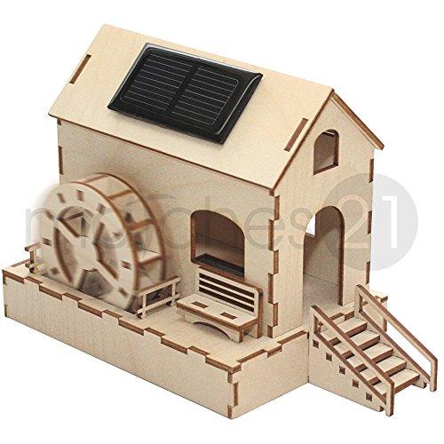 matches21 Wassermühle Wasser-Mühle Solar Holz Bausatz f. Kinder Bastelset Werkset geeignet für Kinder ab 9 Jahren