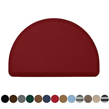Kangaroo Original Commercial Grade Standing Mat Half Circle Kitchen Rug, Anti Fatigue Comfort Flooring, Phthalate Free, Non-Toxic, Salon, Rugs for Office Stand Up Desk, Half Round, Red