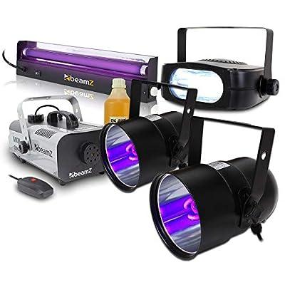 beamz 2x Ultraviolet Glow Tube Disco DJ PAR Can Lights Strobe Lighting Fog Machine