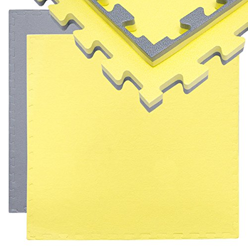 EYEPOWER 20mm Dicke Bodenschutz-Matte 90x90cm Trainingsmatte Puzzlematte erweiterbare Fitnessmatte inkl. Rand Grau Gelb
