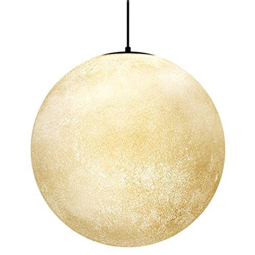 Einfache Full Moon Pendelleuchte kreative Acryl LED Retro Pendellampe Persönlichkeit Kunst Kugel Kinderzimmer Mond Lanyard Hängelampe Mond Droplight Durchmesser 40 cm Höhenverstellbar