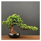 bonsái artificial 13 pulgadas de altura de pino artificial, un nuevo árbol chino ornamental de árboles falsos en maceta, para la entrada de la sala de estar decoraciones del hotel plantas sintéticas (