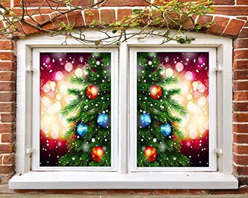 AJ WALLPAPER 3D-Weihnachtsbaum- und Roter Globus 206 Weihnachtsfenster-Filmdruck, Weihnachtsaufkleber, Buntglas, UK LV (kein Kleber und entfernbar), 219 x 312 cm