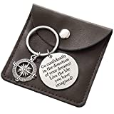 Graduation Gifts for Him Keychain - Go confidently Compass Keychain with Sayings
