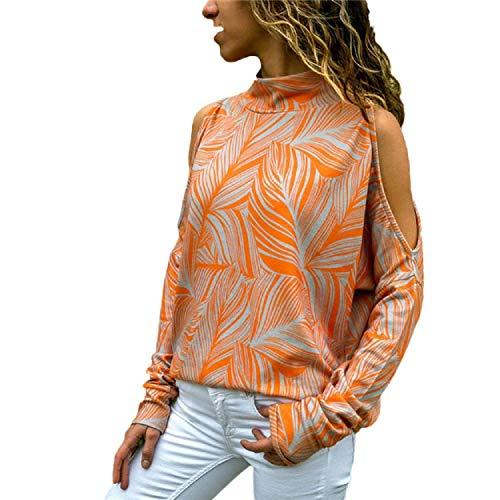 UMIPUBO Blusas Camiseta Mujer Manga Larga sin Hombro Shirt Ajustable Pullover Tops Suelta Larga Moda Estampado Fiesta Camisa