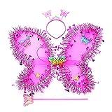 MYhose 3 Piezas niños niñas Disfraz de Hadas Conjunto de Lentejuelas de oropel ala de Mariposa Diadema Varita Bandana de niña Rosa