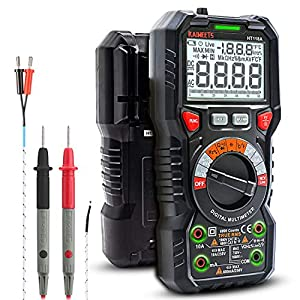 WIDE APPLICATIONS - KAIWEETS digital multimeter features 6000 counts auto-ranging for accurate measurement of AC/DC voltage, AC/DC current(DC is the default), resistance, continuity, frequency, capacitance and diode, liquid temperature, wire on-off, ...