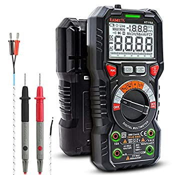 KAIWEETS Digital Multimeter TRMS 6000 Counts Voltmeter Auto-Ranging Fast Accurately Measures Voltage Current Amp Resistance Diodes Continuity Duty-Cycle Capacitance Temperature for Automotive