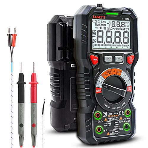 KAIWEETS Digital Multimeter TRMS 6000 Counts Ohmmeter Auto-Ranging Fast Accurately Measures Voltage Current Amp Resistance Diodes Continuity Duty-Cycle Capacitance Temperature for Automotive