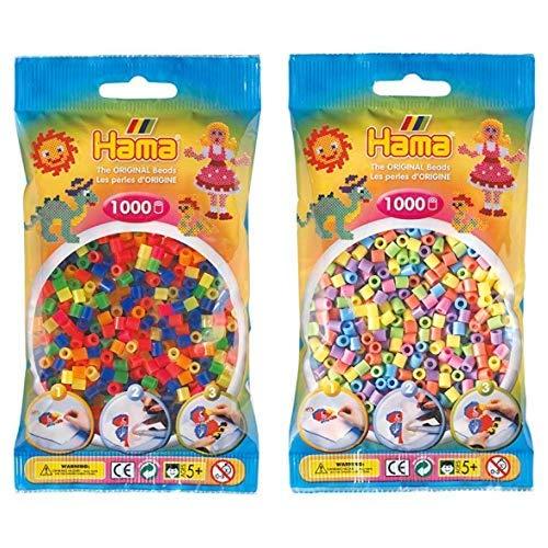 Hama 207-51 - Bügelperlen im Beutel, ca. 1000 Stück, neon-Mix & 207-50 - Perlen, 1000 Stück, pastell gemischt