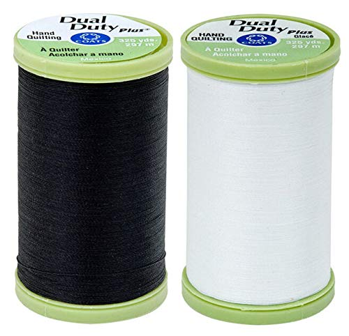 Sale!! Coats 2-Pack Bundle - Dual Duty Plus Hand Quilting Thread - Black and White. 325 Yards Each.