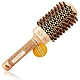 Blow Dry Round Hair Brush with Natural Boar Bristles for Blow-drying | Straightening - Best Roller...