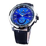 Winner Relojes Irregular Forma Estuche Azul Dial Reloj Deportivo Calendario Display Hombres Mecánico Automático Relojes