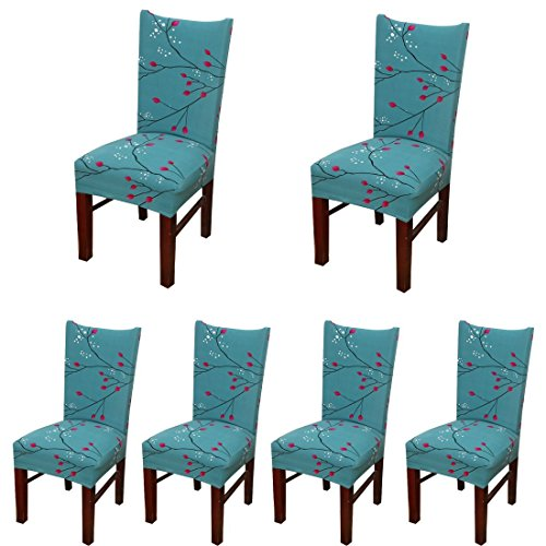 Mejor Stretch Dining Chair Slipcovers, Stitching Printed Dining Chair Covers, Removable Washable Spandex Furniture Seat Protector for Kitchen Room Hotel Table Banquet (6 Per Set, Black White) crítica 2020