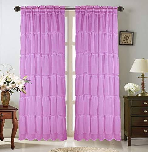 """GorgeousHome(Gypsy) 1PC Curtain Panel 55"""" Wide X 84"""" Standard Length for All Window Solid Multilayered Rod Pocket Soft Crushed Shubby Chic Sheer Fabric Treatment Drape Many Colors (Lilac)"""