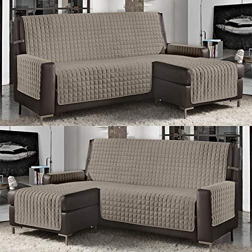 Banzaii Funda de Sofá Cubre Chaise Longue Acolchada Lisa 3 Plazas (240 cm) con Chaise Longue Izquierda/Derecha Arena