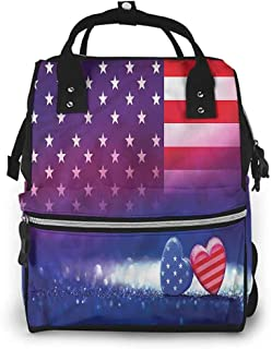 Baby Bag Anti-Water Maternity Nappy Bags Changing Bags, American Flag Hearts Country Love, Large Capacity, Waterproof and Stylish