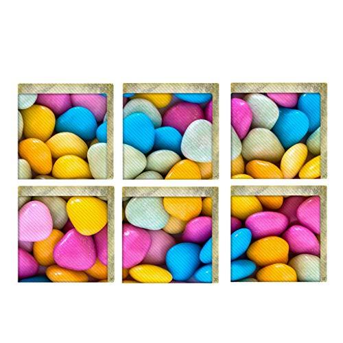 Manyo - Lote de 6 pegatinas antideslizantes para bañera, pegatina de ducha y WC, pegatinas 3D de pared, caramelos de colores, decoración de pared, pegatinas de PVC, 20 x 23 cm